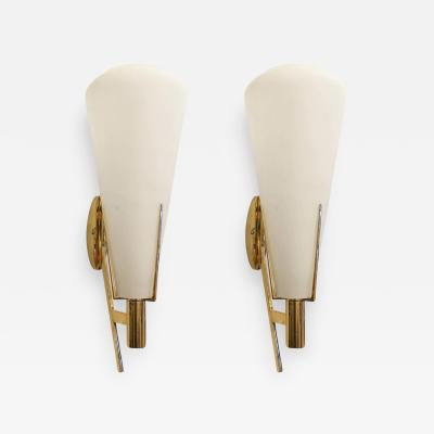 Stilnovo Pair of Brass and Glass Sconces Attributed to Stilnovo Italy 1960s