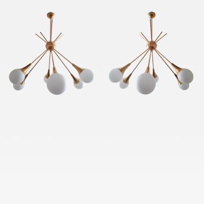 Stilnovo Pair of Brass and Glass Sputnik Chandeliers Stilnovo style Mid Century Modern