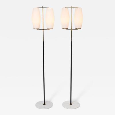 Stilnovo Pair of Brass and Opaline Midcentury Floor Lamps by Stilnovo Italy circa 1950