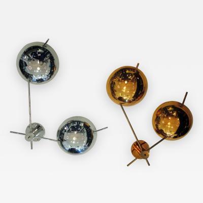 Stilnovo Pair of Italian Modern Chrome Copper Sconces By Stilnovo 1950s