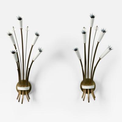 Stilnovo Pair of Italian Stilnovo Style Brass and Enamel Sconces