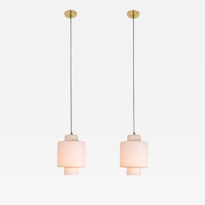 Stilnovo Pair of Large 1950s Stilnovo Glass and Brass Pendants