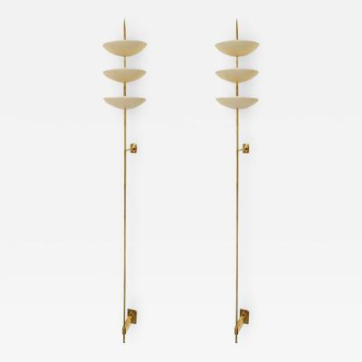 Stilnovo Pair of Large Brass and White Metal Bowl Wall Sconces in the Style of Stilnovo