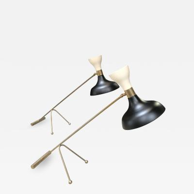 Stilnovo Pair of Midcentury Stilnovo Adjustable Black White Table Lamps Italy