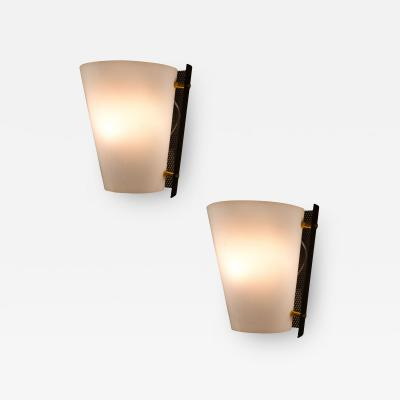 Stilnovo Pair of Stilnovo 50s wall sconces in perspex painted metal and brass