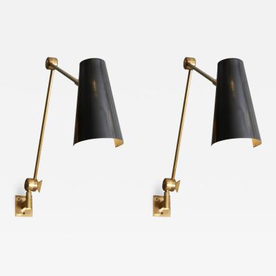 Stilnovo Pair of Stilnovo Black Cones Wall Sconces