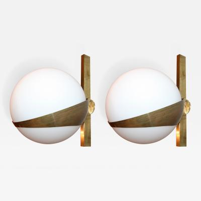 Stilnovo Pair of Stilnovo Style Brass Sconces with White Glass Balls