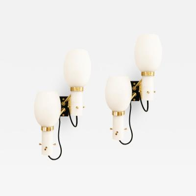 Stilnovo Pair of Stilnovo Wall Lights with Frosted Glass Shades
