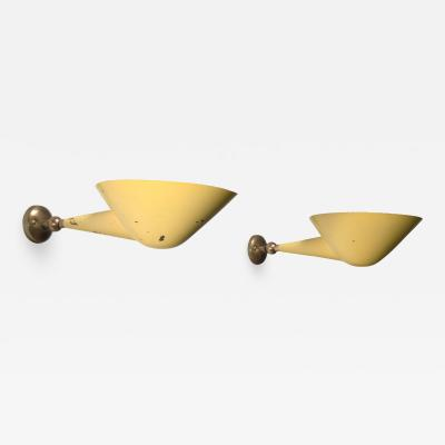 Stilnovo Pair of Stilnovo brass adjustable wall lamps