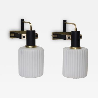 Stilnovo Pair of White Opaline Glass Shades Stilnovo Sconces 1960 Italy