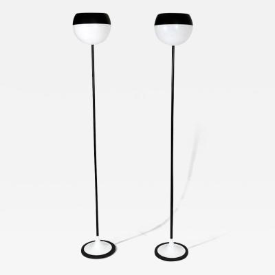 Stilnovo Pair of black white floor lamps