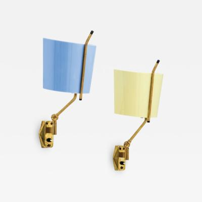 Stilnovo Pair of sconces in yellow and blue by Stilnovo