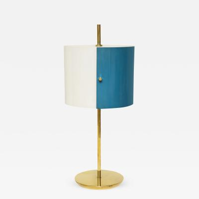 Stilnovo Petite Brass Table Lamp with Blue and White Perspex Italy c 1950