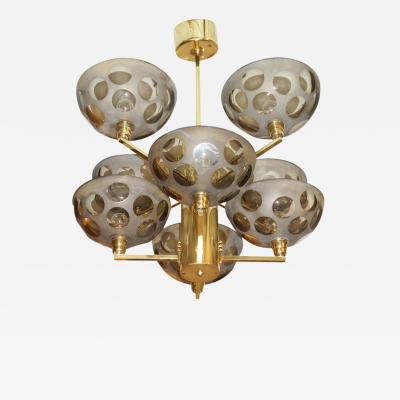 Stilnovo Posh Brass and Glass Stilnovo Chandelier Italy 1970s