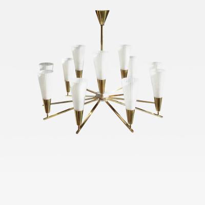 Stilnovo Rare Brass Ceiling Lamp Italy 1960s