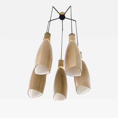 Stilnovo Rare and Elegant Five Light Taupe Chandelier by Stilnovo Italy 1950s