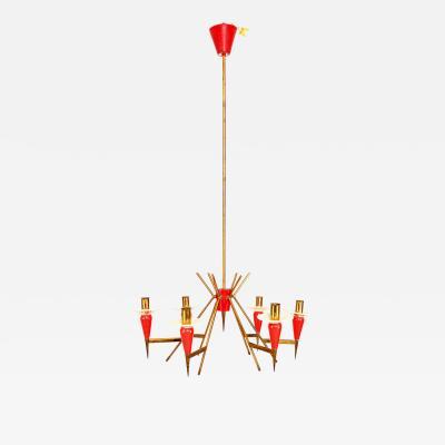 Stilnovo Red Mid Century Modern White Italian Chandelier Sputnik Style Stilnovo Attr