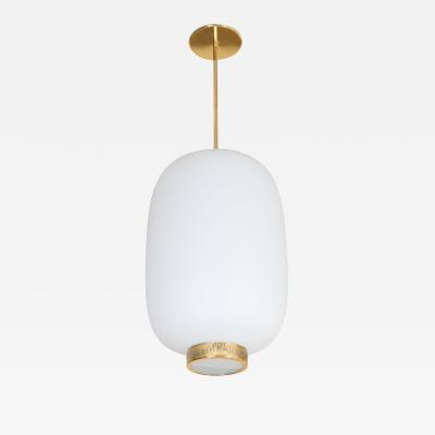 Stilnovo STILNOVO ITALIAN WHITE GLASS LANTERN SHAPE PENDANT LIGHT