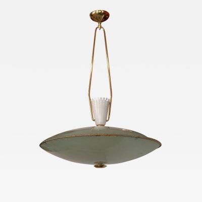 Stilnovo Saucer Form Glass and Brass Pendant Chandelier Attributed to Stilnovo