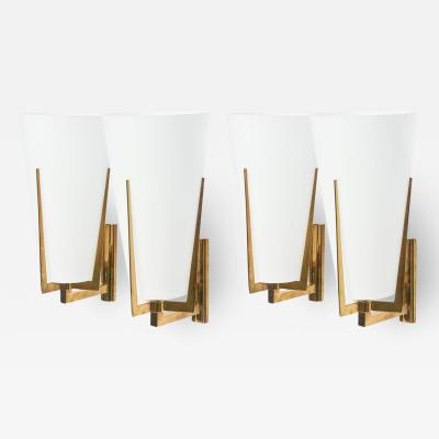 Stilnovo Set of Four Large Stilnovo Brass and Frosted Glass Wall Lights Italy