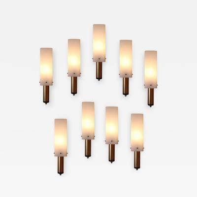 Stilnovo Set of Nine Brass Glass Wall Lights