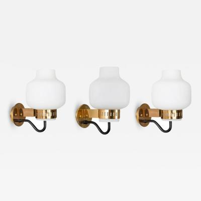 Stilnovo Set of Three Stilnovo 2030 Brass and Glass Sconces circa 1965