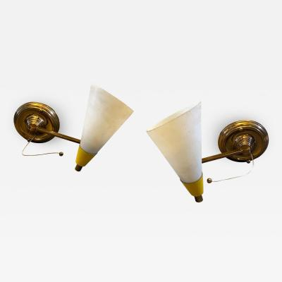 Stilnovo Set of two Mid Century Modern Brass and Glass Foldable Wall Sconces circa 1950