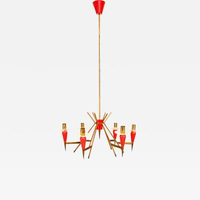 Stilnovo Spectacular STILNOVO SPUTNIK Six Arm Chandelier in RED 1950s Italy