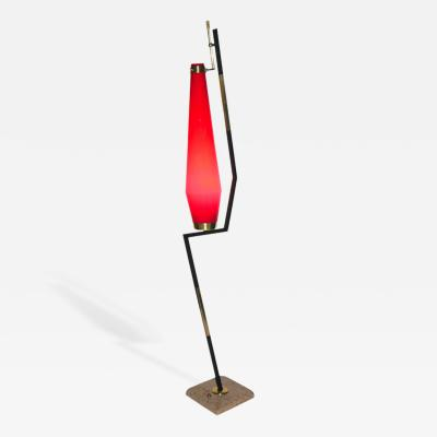 Stilnovo Stilnovo 1950s Vintage Italian Floor Lamp with Vistosi Red Murano Glass Shade