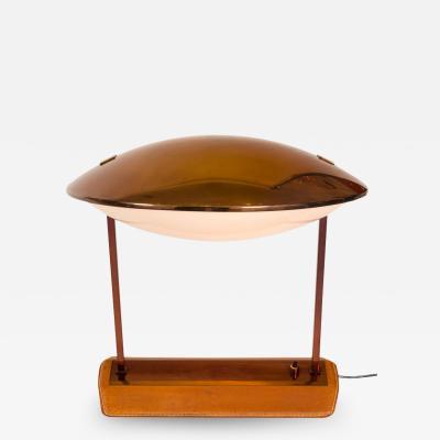 Stilnovo Stilnovo Brass Leather Perspex Adjustable Table Lamp Model 8050
