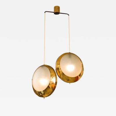 Stilnovo Stilnovo Brass Textured Glass Double Pendant Light Italy 1950s