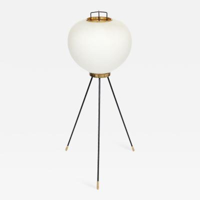Stilnovo Stilnovo Brass and Opaline Glass Tripod Floor Lamp