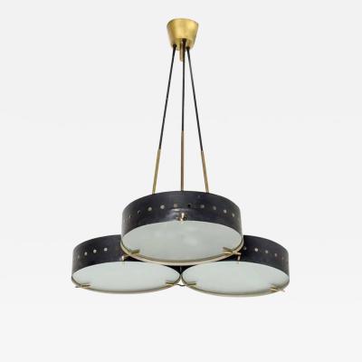 Stilnovo Stilnovo Chandelier Metal Varnish and Satin Glass Circa 1950 Italy