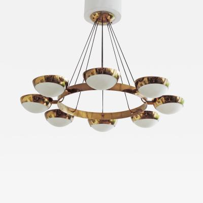 Stilnovo Stilnovo Chandelier in Brass and Glass Italy 1950s