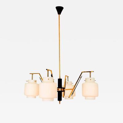 Stilnovo Stilnovo Four Arm Brass Chandelier with Opaline Glass Italy 1950s