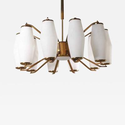 Stilnovo Stilnovo Grand Scaled Eleven Light Mid Century Chandelier Italy circa 1960