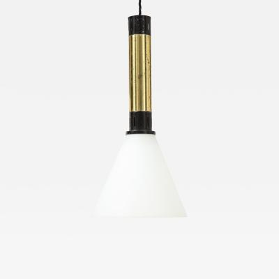 Stilnovo Stilnovo Hanging Light Varnished Metal and Brass 1950s