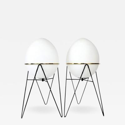 Stilnovo Stilnovo Italian Egg or Uovo Shaped Glass Floor Lamps