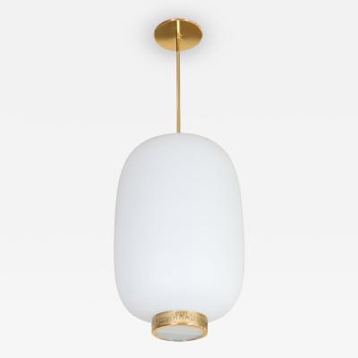 Stilnovo Stilnovo Italian White Glass Lantern Shape Pendant Light Italy Circa 1950