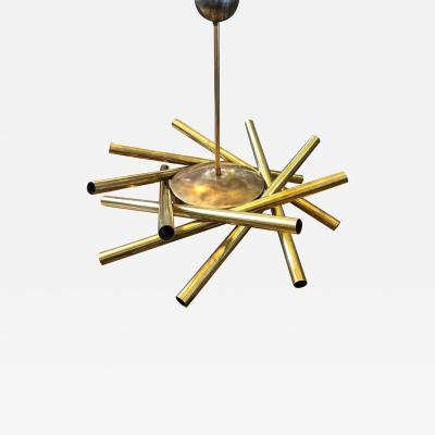 Stilnovo Stilnovo Mid Century Modern Brass 16 Light Sputnik Chandelier circa 1950