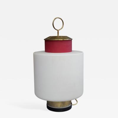 Stilnovo Stilnovo Mid Century Modern Red Glass and Brass Table Lamp 1950s
