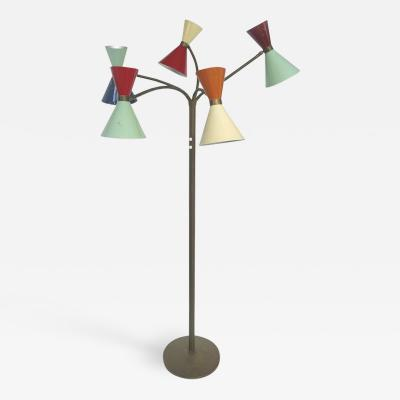 Stilnovo Stilnovo Midcentury Five Arm Floor Lamp with Gooseneck Arms Original Paint