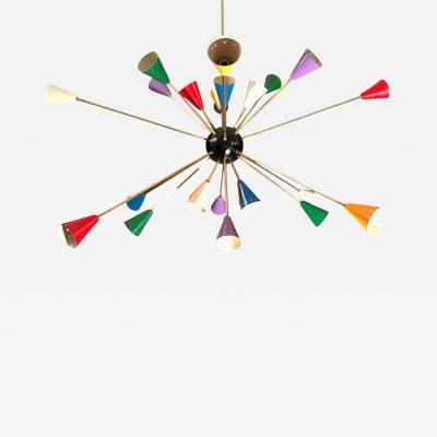 Stilnovo Stilnovo Multi Color Sputnik Chandelier Mid Century Italian Design