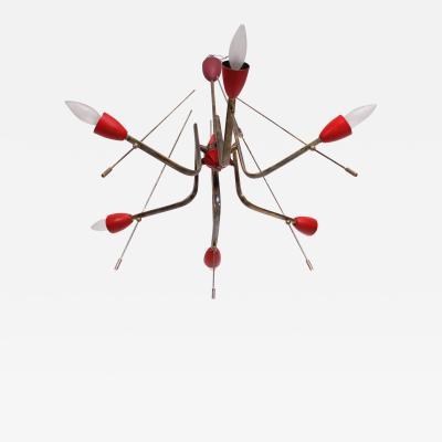 Stilnovo Stilnovo Sputnik Dazzling RED Futuristic Solid Brass Chandelier Lamp Italy 1950s