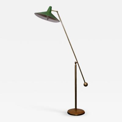 Stilnovo Stilnovo Style Italian Brass Floor Lamp with Green Shade
