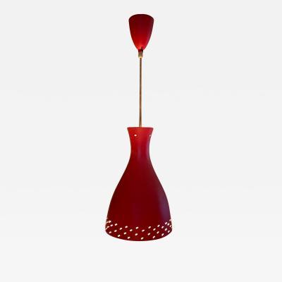 Stilnovo Stilnovo Subtle Modernism Red Hanging Italian Cone Pendant Lamp 1950s ITALY
