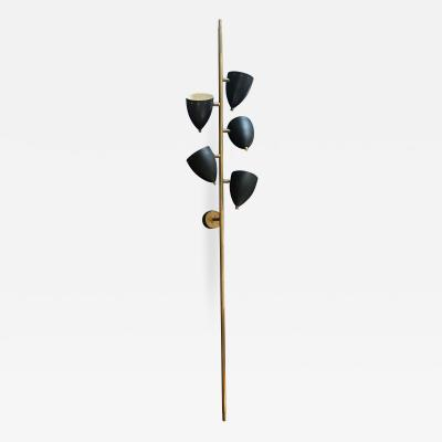 Stilnovo Stilnovo Wall light with 5 lights Black Metal Brass 1950s Italy