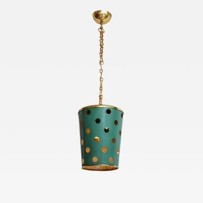 Stilnovo Stilnovo green tole and brass pendant light