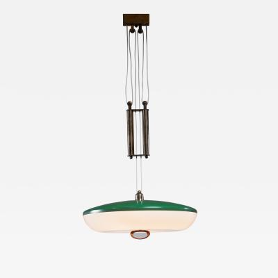Stilnovo Stilnovo large green metal and white plexiglass counterweight pendant Italy