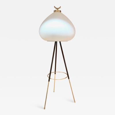 Stilnovo Tripod Floor Lamp in Brass and Milk Glass Italy 1960s